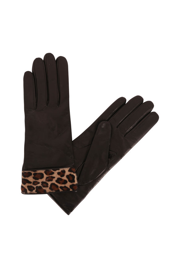 Portolano  Black Leather Leopard Trim Gloves