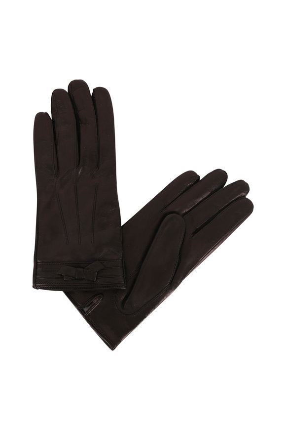 Portolano  Black Leather Bow Detail Gloves