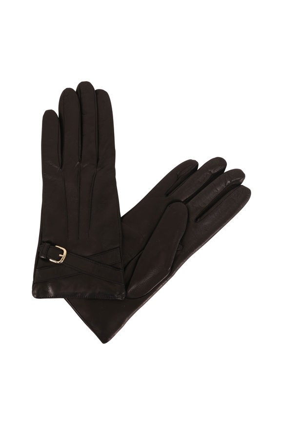 Portolano  Black Leather Faux Wrap Buckle Gloves