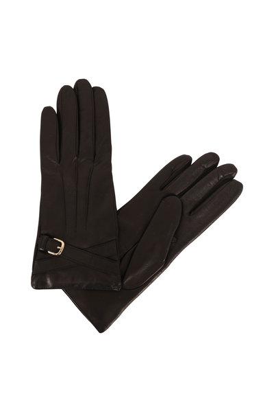 Portolano - Black Leather Faux Wrap Buckle Gloves