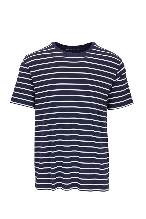 Derek Rose Alfie Navy & White Stripe T-Shirt