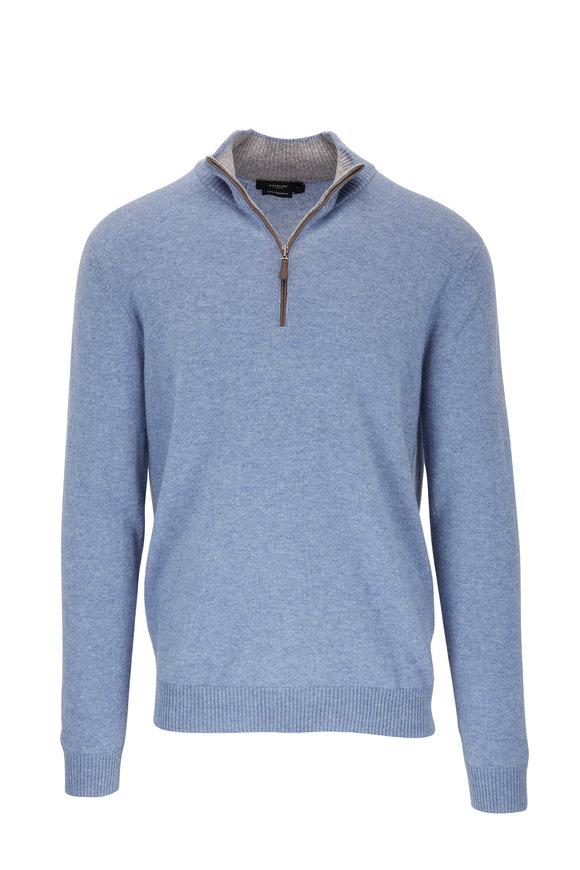Kinross Washed Blue Cashmere Quarter-Zip Pullover