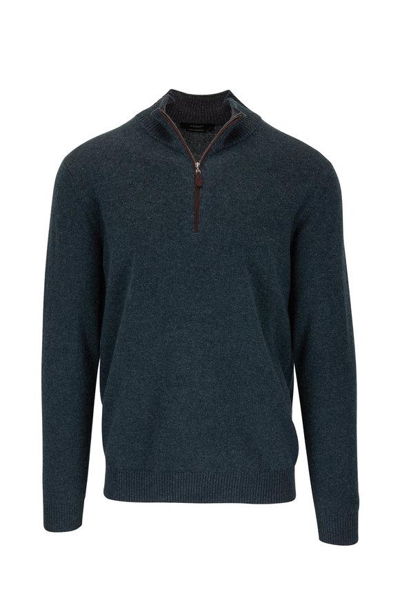 Kinross Wintergreen Quarter-Zip Cashmere Pullover