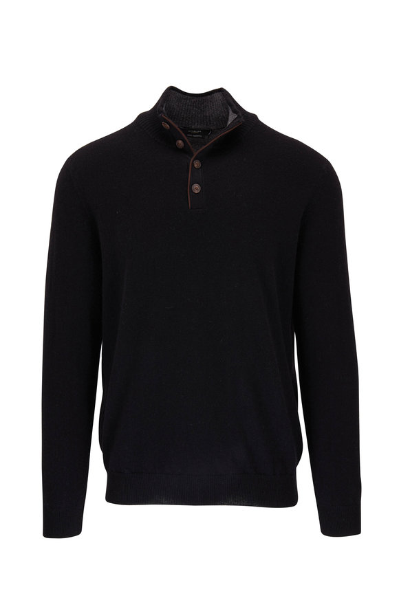 Kinross Black Cashmere Quarter-Button Pullover