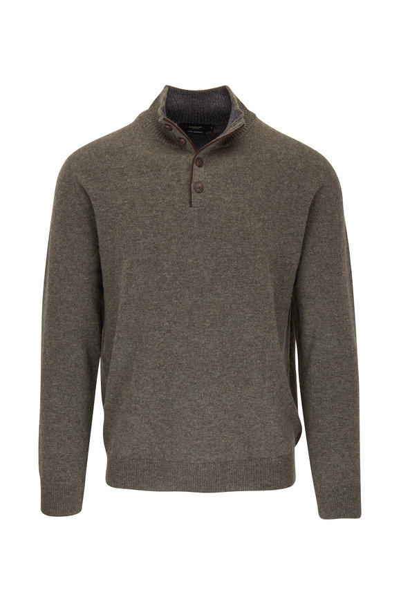 Kinross Fatigue Quarter-Button Cashmere Pullover