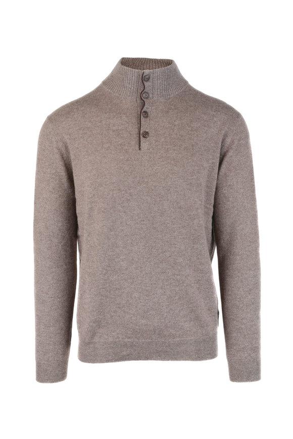 Kinross Walnut Quarter-Button Cashmere Sweater