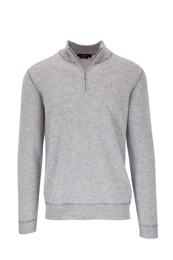 Kinross Light Gray Cashmere Quarter-Zip Pullover