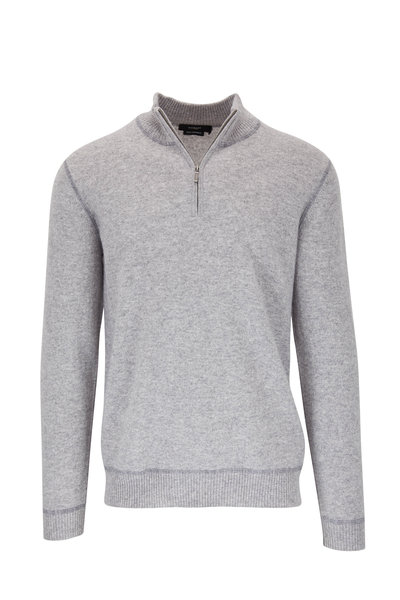 Kinross - Light Gray Cashmere Quarter-Zip Pullover