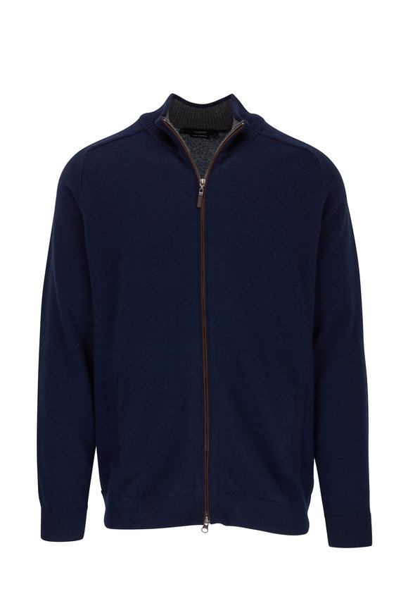 Kinross Dark Navy Front Zip Cashmere Cardigan