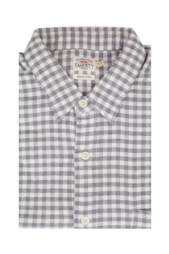Faherty Brand Seaview Charcoal Gray Gingham Sport Shirt