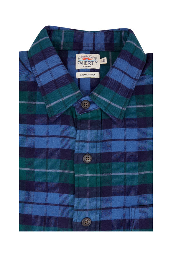 Faherty Brand Seaview Blue & Green Plaid Flannel Sport Shirt