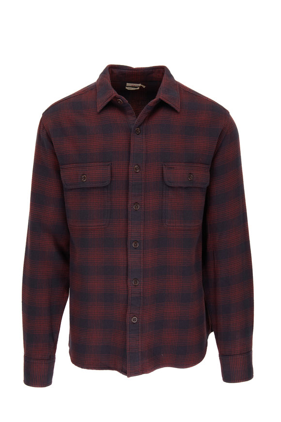 Faherty Brand Burgundy Shadow Vintage Twill Flannel Button Down