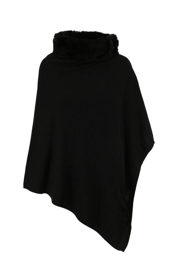 Kinross Black Cashmere & Fur Collar Poncho