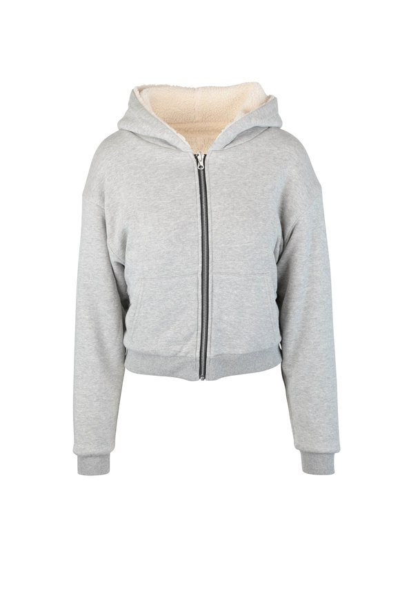 John Elliott Gray Reversible Fleece Zip Hoodie