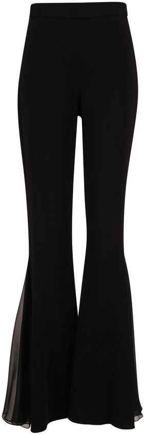 Cushnie Black High-Rise Pleated Chiffon Inset Pant