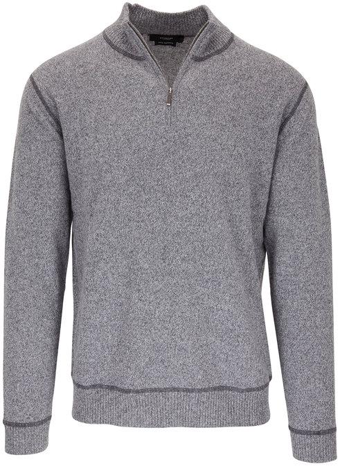Kinross Gray & Limestone Quarter-Zip Cashmere Pullover