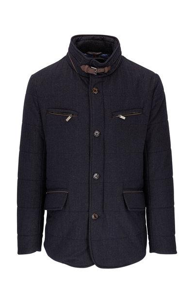 Gimos - Navy Blue Quilted Herringbone Coat
