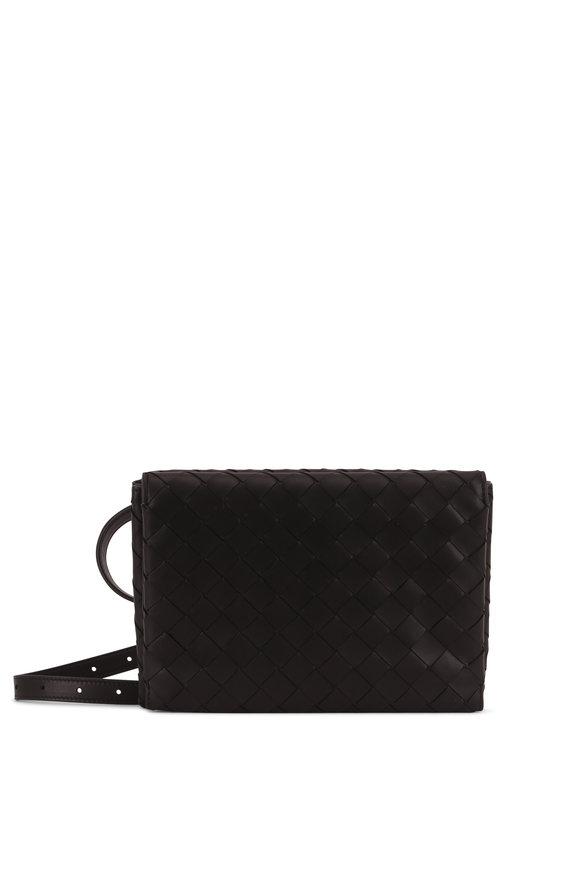 Bottega Veneta Black Intericatto Fold-Over Belt Bag