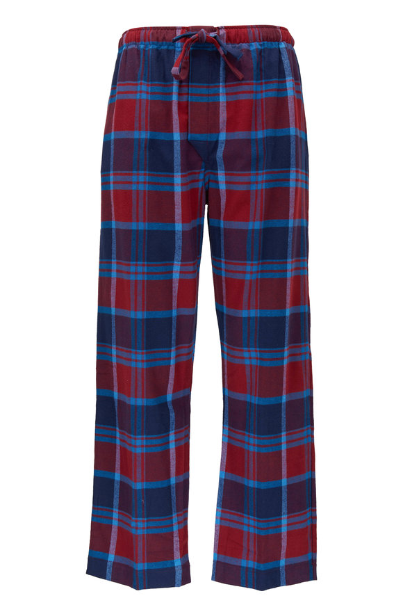 Derek Rose Kelburn Red Plaid Flannel Lounge Pant