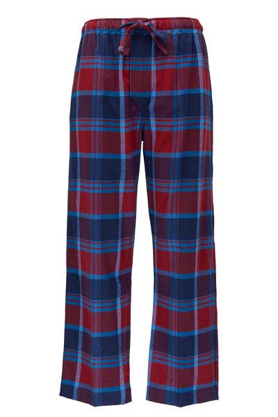 Derek Rose - Kelburn Red Plaid Flannel Lounge Pant
