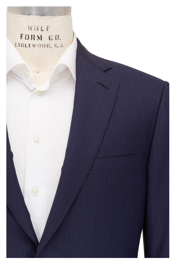 Brioni Navy Blue Wool Striped Suit