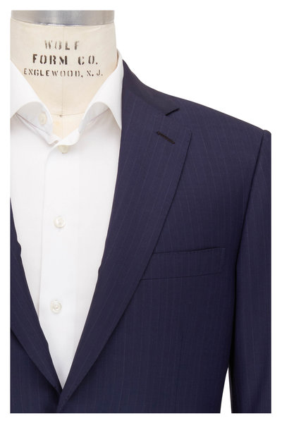 Brioni - Navy Blue Wool Striped Suit