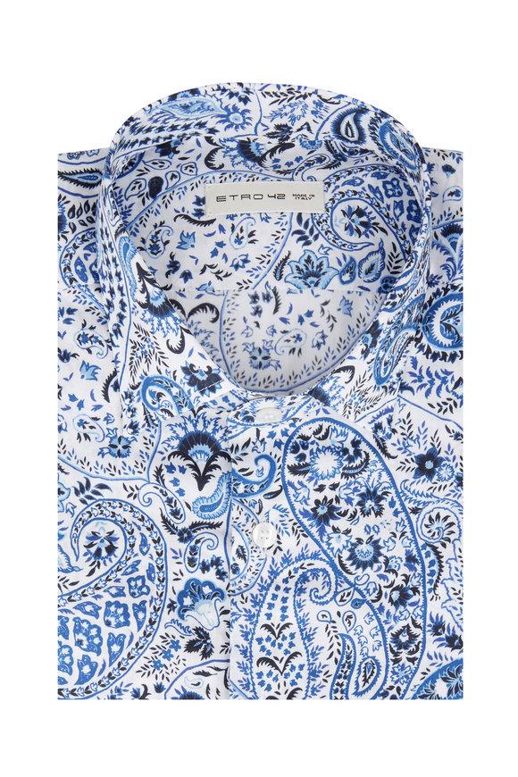 Etro Navy Blue Paisley Sport Shirt