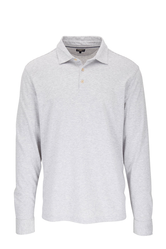 Faherty Brand Summit Light Gray Striped Polo