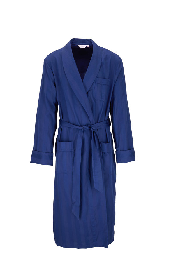 Derek Rose Navy Tonal Striped Belted Robe