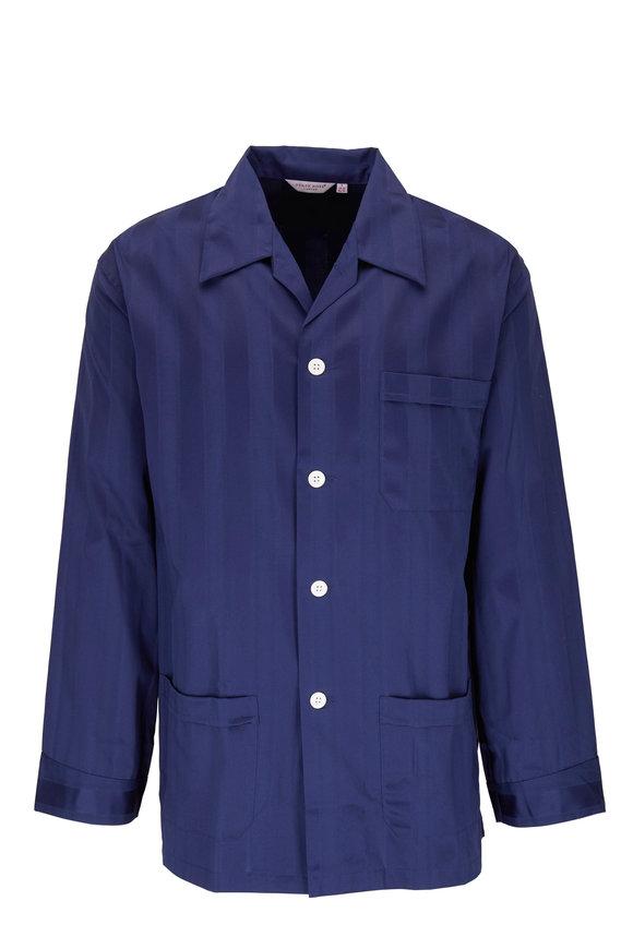 Derek Rose Lingfield Navy Blue Striped Cotton Pajamas