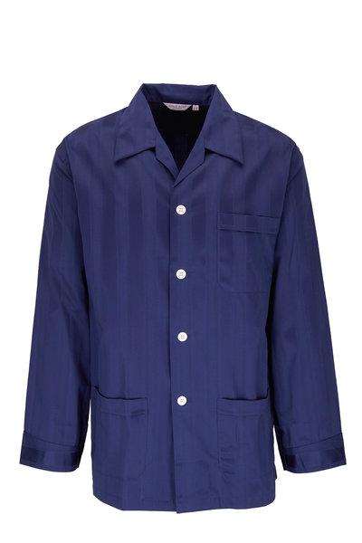 Derek Rose - Lingfield Navy Blue Striped Cotton Pajamas
