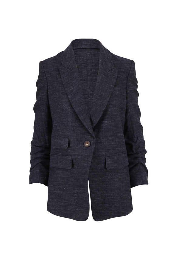 Veronica Beard Martel Navy Single Button Dickey Jacket