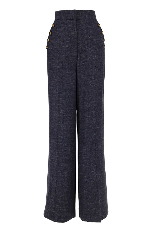 Veronica Beard Tuli Navy High-Rise Wide Leg Pant