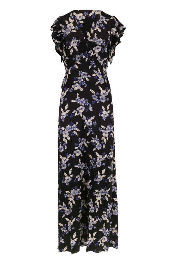 Veronica Beard Padma Black Multi Floral Flutter Sleeve Maxi Dress