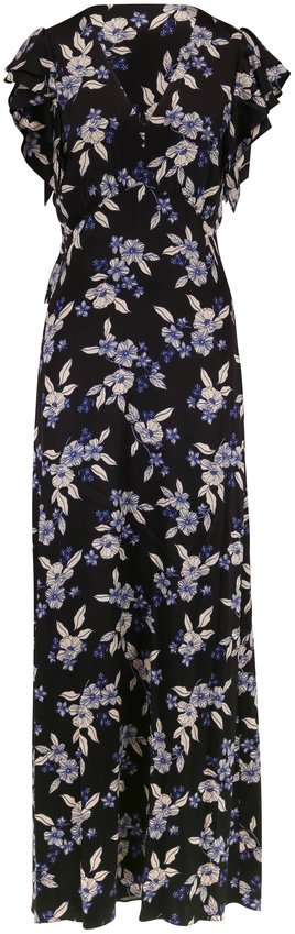 Veronica Beard Padma Black Multi Floral Flutter Sleeve Maxi Dress