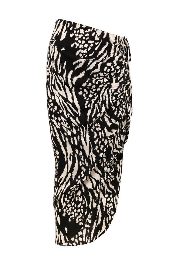 Veronica Beard Ari Black & Bone Animal Print Ruched Skirt
