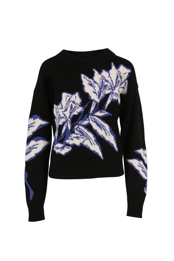 Veronica Beard Ayala Black Multi Floral Intarsia Sweater