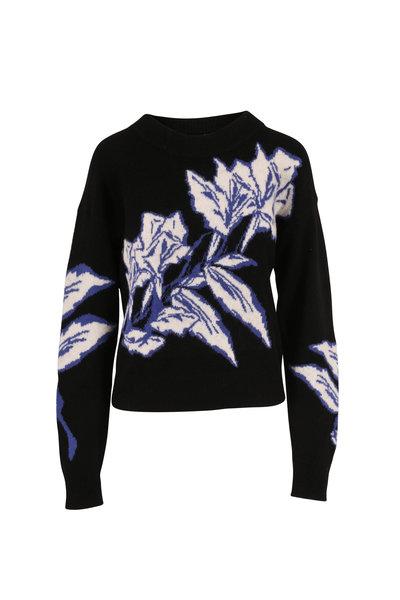 Veronica Beard - Ayala Black Multi Floral Intarsia Sweater