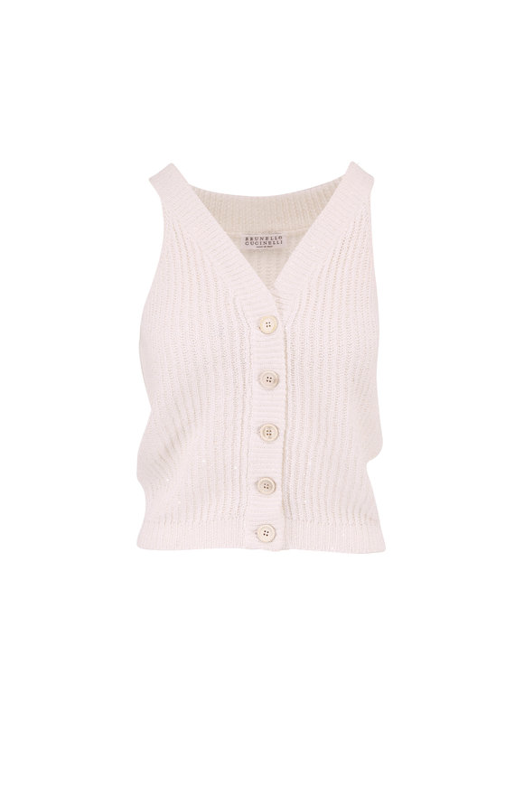 Brunello Cucinelli Exclusively Ours! White Paillette Knit Top