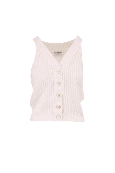Brunello Cucinelli - Exclusively Ours! White Paillette Knit Top