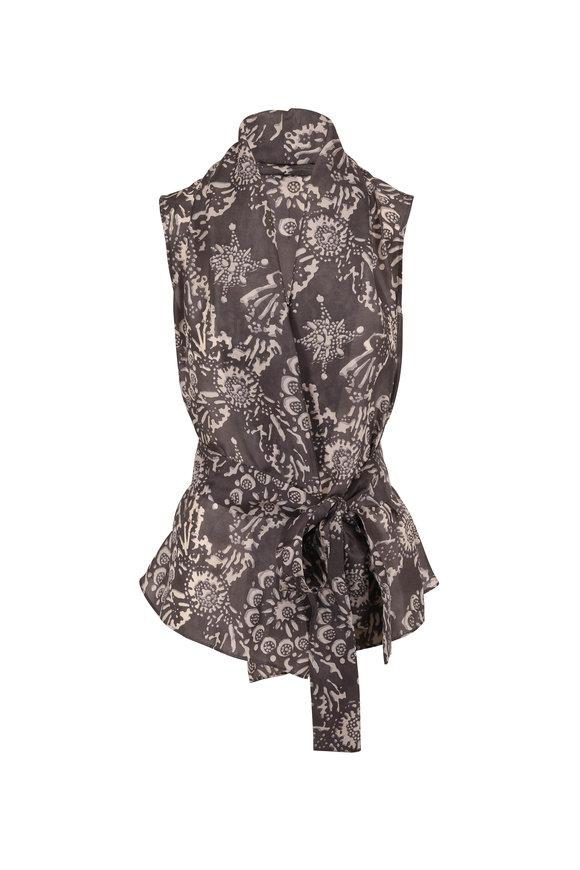 Brunello Cucinelli Gray Silk Botanical Print Sleeveless Wrap Top