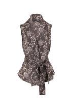 Brunello Cucinelli - Gray Silk Botanical Print Sleeveless Wrap Top