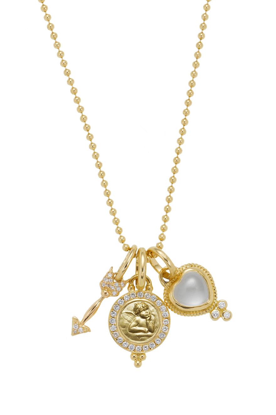 Diamond Cupid Arrow, Crystal Heart & Angel Pendant
