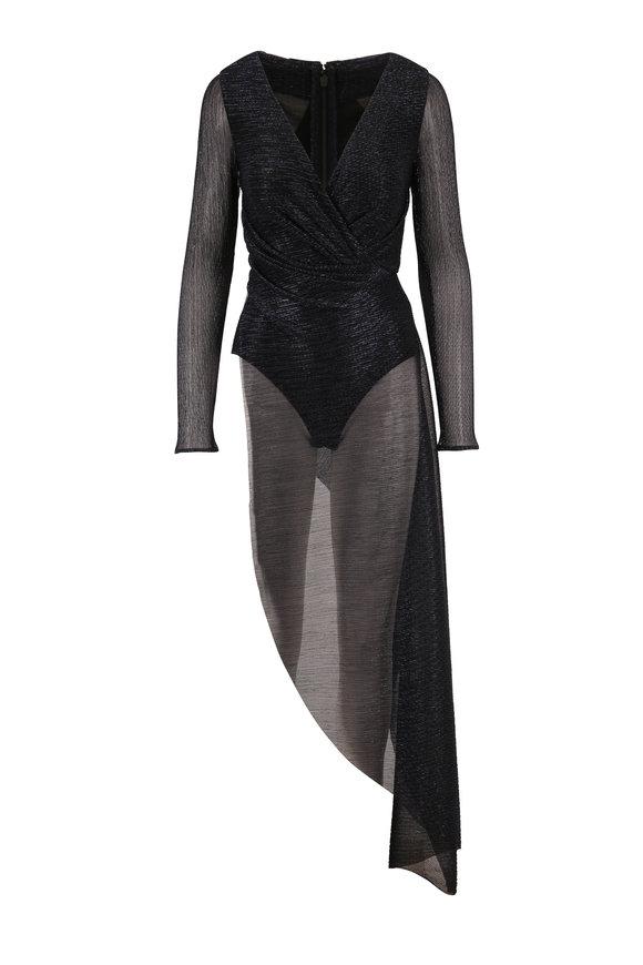 Talbot Runhof Babylone1 Midnight Lurex Asymmetric Hem Bodysuit