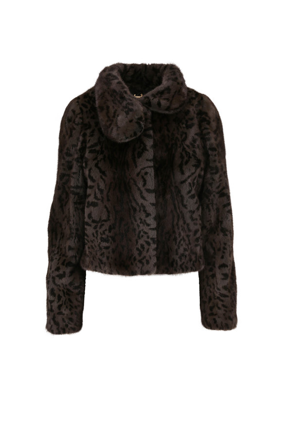 Reich Furs Olive Animal Printed Mink Jacket
