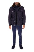 Moncler - Jeanmarc Dark Blue Fur Collar Four Pocket Jacket