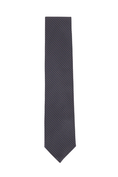 Brioni - Navy & Light Blue Micro Squares Silk Necktie