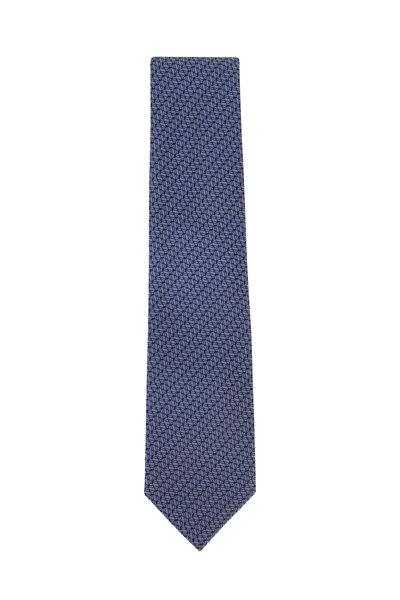 Brioni - Blue & Light Blue Geometric Pattern Silk Necktie