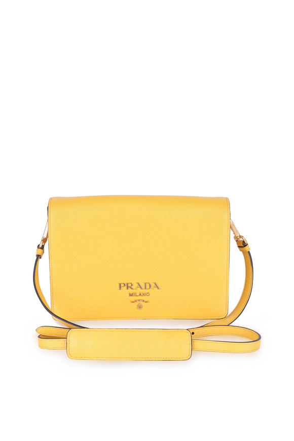 Prada Yellow Leather Crossbody Bag