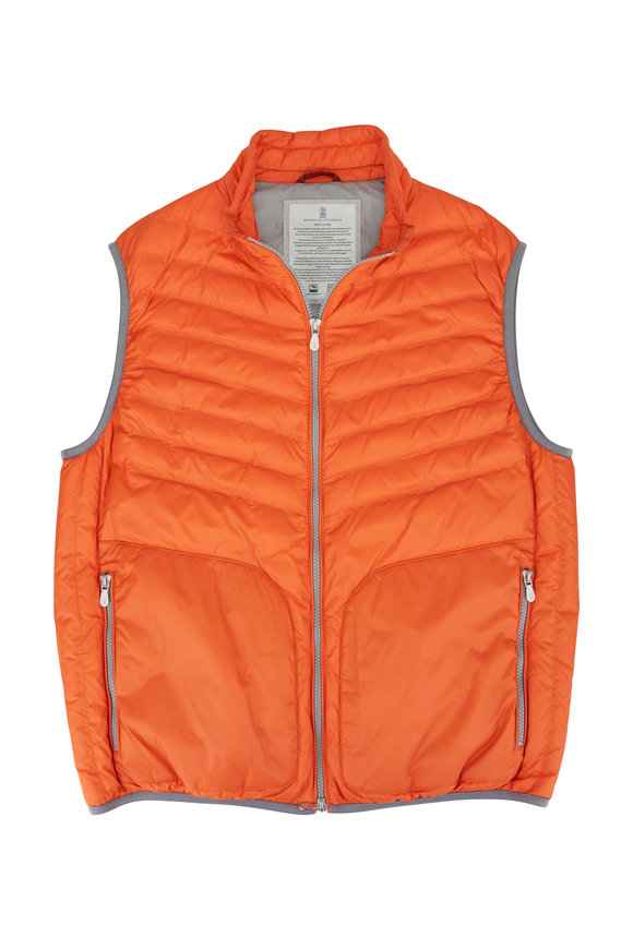 Brunello Cucinelli Orange Nylon Down Puffer Vest